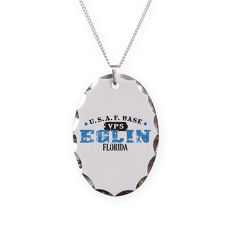 Eglin Air Force Base Necklace Oval Charm