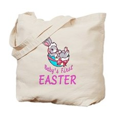 Baby Girl Bunny First Easter Tote Bag