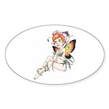 Butterfly Girl Oval Decal