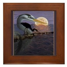 Blue Heron Framed Tile