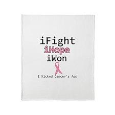 iFight iHope iWon Breast Canc Throw Blanket