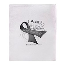 Brain Cancer Hero Ribbon Throw Blanket