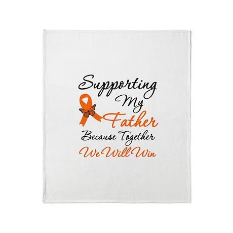 Orange Ribbon Butterfly Throw Blanket