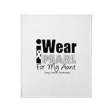 I Wear Pearl Ribbon For My Au Throw Blanket