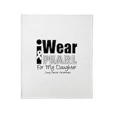I Wear Pearl Ribbon For My Da Throw Blanket