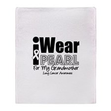 I Wear Pearl Ribbon For My Gr Throw Blanket