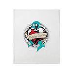 Ovarian Cancer Tattoo Ribbon Throw Blanket