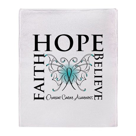 Ovarian Cancer Butterfly Throw Blanket