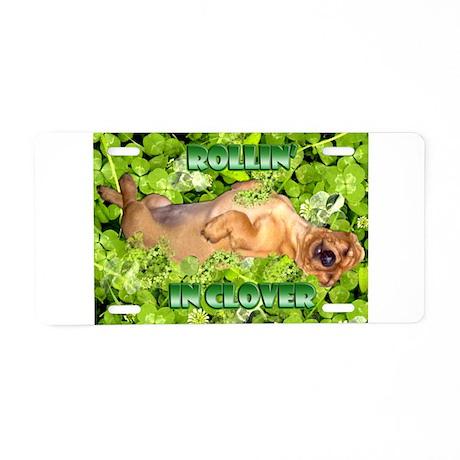 Rollin In Clover Dachshund Aluminum License Plate