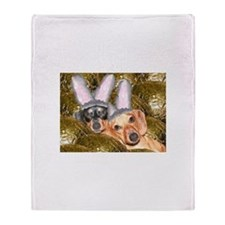 Easter Bunny Ears Dogs Throw Blanket