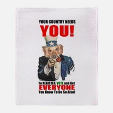 Uncle Sam Vote Throw Blanket