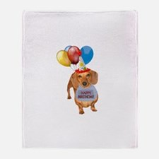 Red Doxie Birthday Throw Blanket