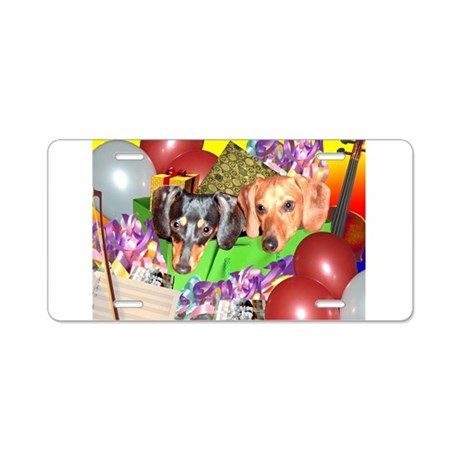 Party Animals Dachshunds Dogs Aluminum License Pla