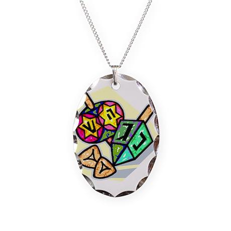 Jewish Dreidels Necklace Oval Charm