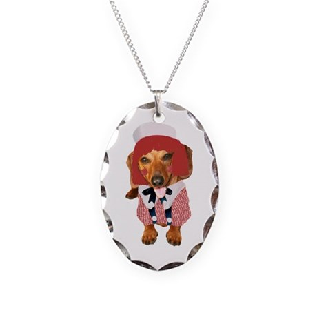 Raggedy Andy Dachshund Necklace Oval Charm