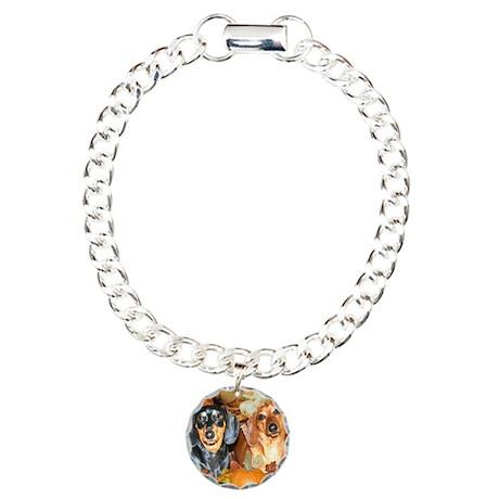 Autumn Dachshunds Charm Bracelet, One Charm