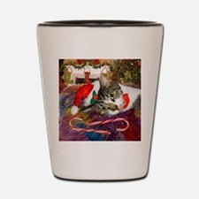 Candy Cane Cat Shot Glass