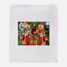 Christmas Bulb Dogs Throw Blanket