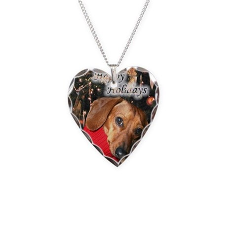 Happy Holidays Doggie Necklace Heart Charm