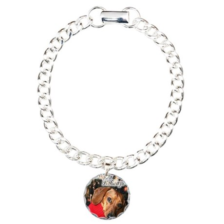Happy Holidays Doggie Charm Bracelet, One Charm