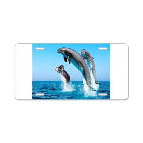Doxie & Dolphins Aluminum License Plate