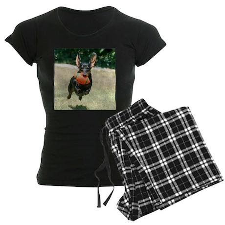 Football Doxie Women's Dark Pajamas