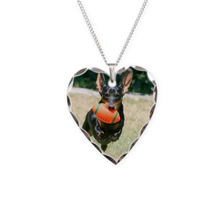 Football Doxie Necklace Heart Charm