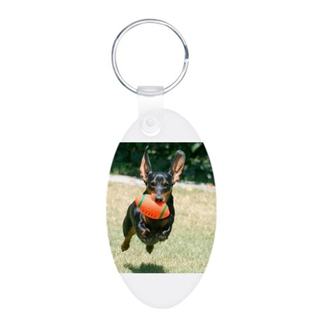 Football Doxie Aluminum Oval Keychain