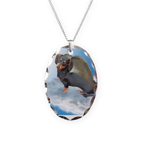 Angel Dachshund Dogs Necklace Oval Charm
