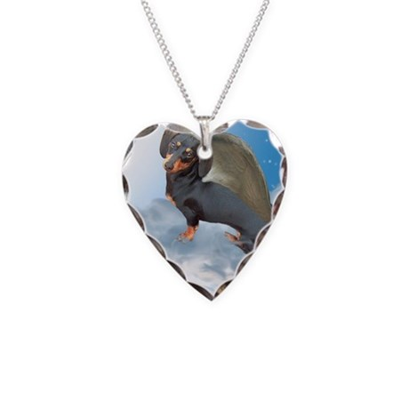 Angel Dachshund Dogs Necklace Heart Charm