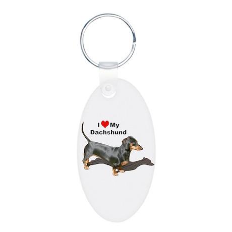 Doxie Love Aluminum Oval Keychain