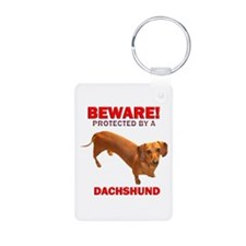 Caution Protected by a Dachsh Keychains