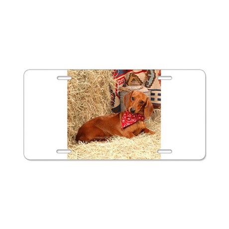 Western Doxie Aluminum License Plate
