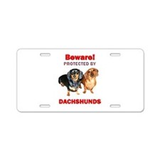 Protected By Dachshunds Aluminum License Plate