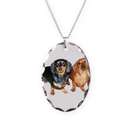 Double Dachshund Dogs Necklace Oval Charm