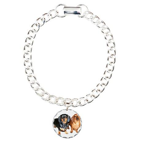 Double Dachshund Dogs Charm Bracelet, One Charm