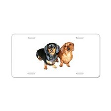 Double Dachshund Dogs Aluminum License Plate