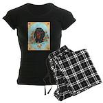 Black and Tan Dachshund Women's Dark Pajamas