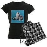 Siberian Husky and Puppy Women's Dark Pajamas