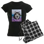 Malamute and sled team Women's Dark Pajamas