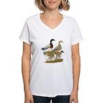 Saxony Duck Family Women's V-Neck T-Shirt