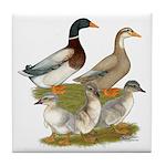 Saxony Duck Family Tile Coaster