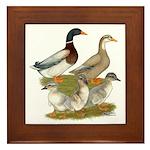 Saxony Duck Family Framed Tile