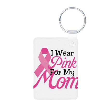 Pink For Mom Aluminum Photo Keychain