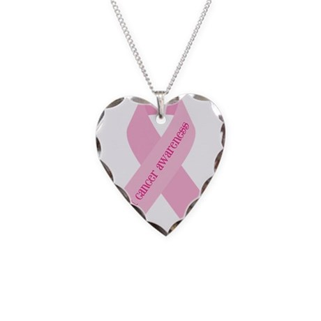 Awareness Ribbon Necklace Heart Charm