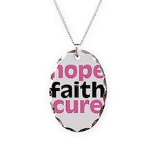 Hope Faith Cure Necklace Oval Charm