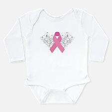 Pink Ribbon Design 3 Long Sleeve Infant Bodysuit
