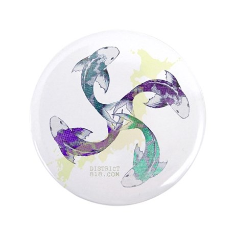 """JAPANESE UNITY FISH 3.5"""" Button"""