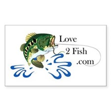 Love 2 Fish Rectangle Decal