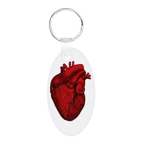 Anatomical Human Heart Aluminum Oval Keychain